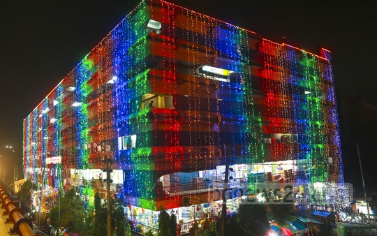 The malls in Dhaka get decorated with colourful lights ahead of the Eid-ul-Fitr shopping spree. Photo: Abdullah Al Momin