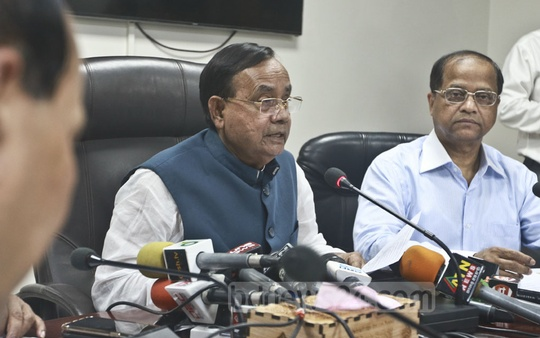 Railway Minister Mujibul Haque announces the advance ticket sale for Eid travellers at a news conference at the Rail Bhaban on Thursday. Photo: Abdullah Al Momin