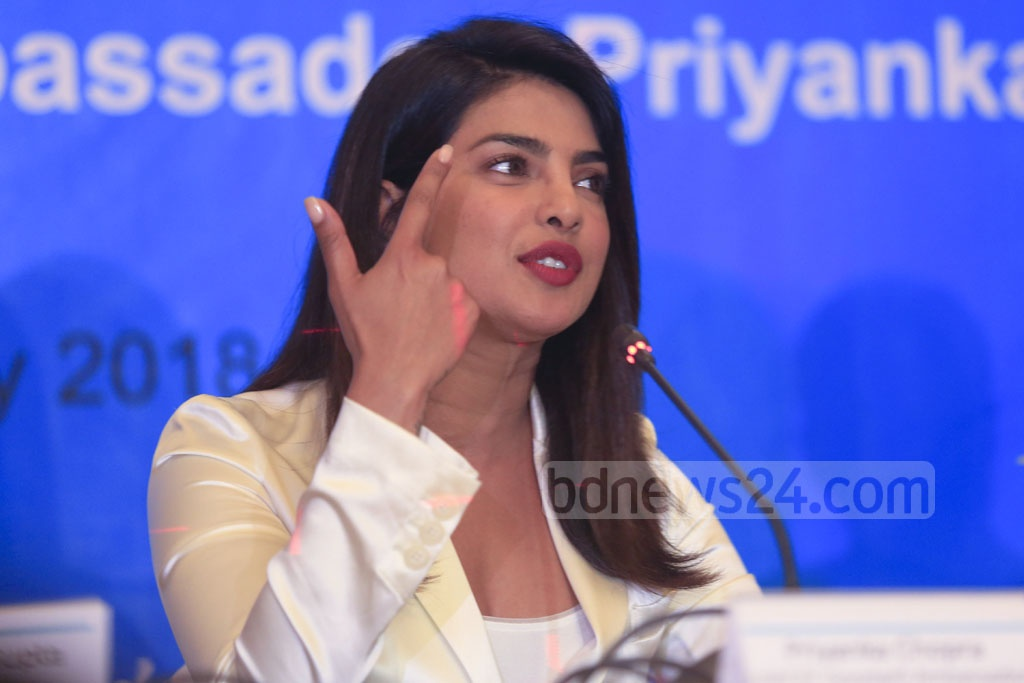 Indian actress Priyanka Chopra gestures at a media call in Dhaka on Thursday at the end of her four-day visit to Cox's Bazar to meet displaced Rohingyas at refugee camps. Photo: Mostafigur Rahman