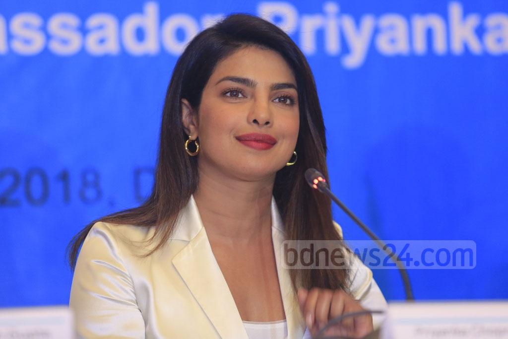 UNICEF goodwill ambassador Priyanka Chopra addressing a press conference in Dhaka on Thursday after her four-day visit to Cox's Bazar to meet displaced Rohingyas at refugee camps. Photo: Mostafigur Rahman