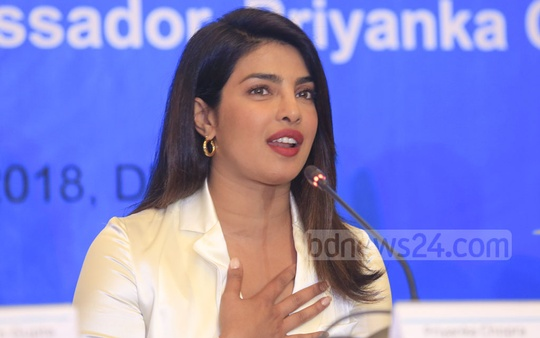 Actress and UNICEF goodwill ambassador Priyanka Chopra addressing a press conference in Dhaka on Thursday at the end of her four-day visit to Cox's Bazar to meet displaced Rohingyas at refugee camps. Photo: Mostafigur Rahman