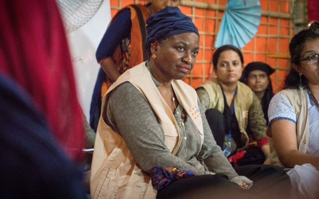 Natalia Kanem listens to the stories of Rohingya refugee women at UNFPA Women Friendly Space in Cox's Bazar. Photo: UNFPA Bangladesh via Twitter
