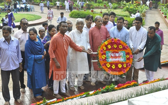 The BNP led by Mirza Fakhrul Islam Alamgir pays tribute to National Poet Kazi Nazrul Islam at his grave on his 119th birth anniversary on Friday.