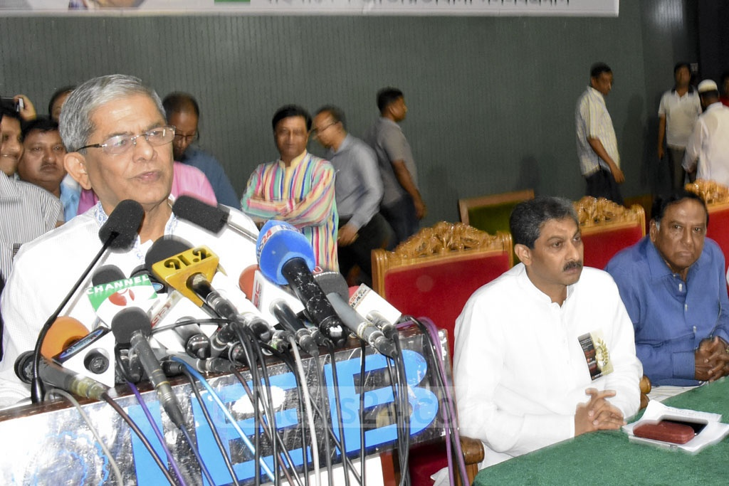 BNP Secretary General Mirza Fakhrul Islam Alamgir speaking at a discussion held at the Institution of Engineers, Bangladesh on Tuesday to remember party founder Ziaur Rahman on his death anniversary.