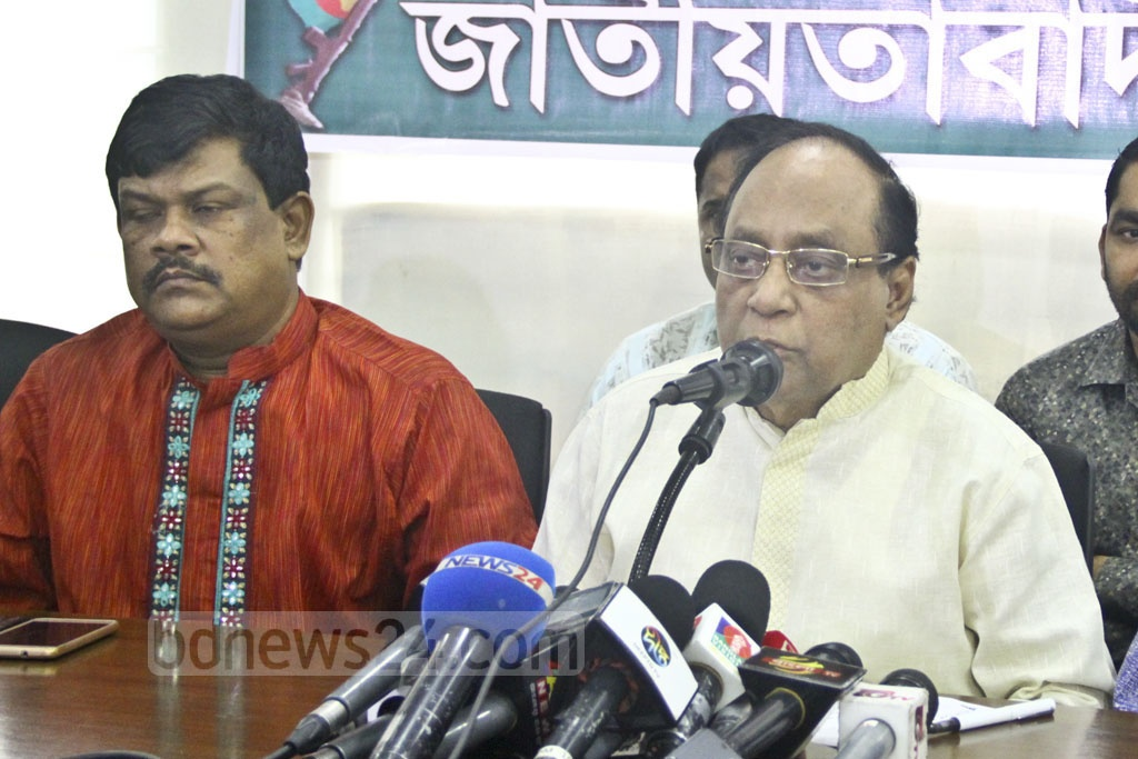 BNP Vice-Chairman Abdullah Al Noman speaks at a discussion on the 37th death anniversary of President Ziaur Rahman and multi-party democracy at the National Press Club in Dhaka on Monday.