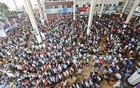 Customers flock to Dhaka's Kamalapur Railway Station on Wednesday, the last day for sale of advance tickets for Eid-ul-Fitr holiday journeys.