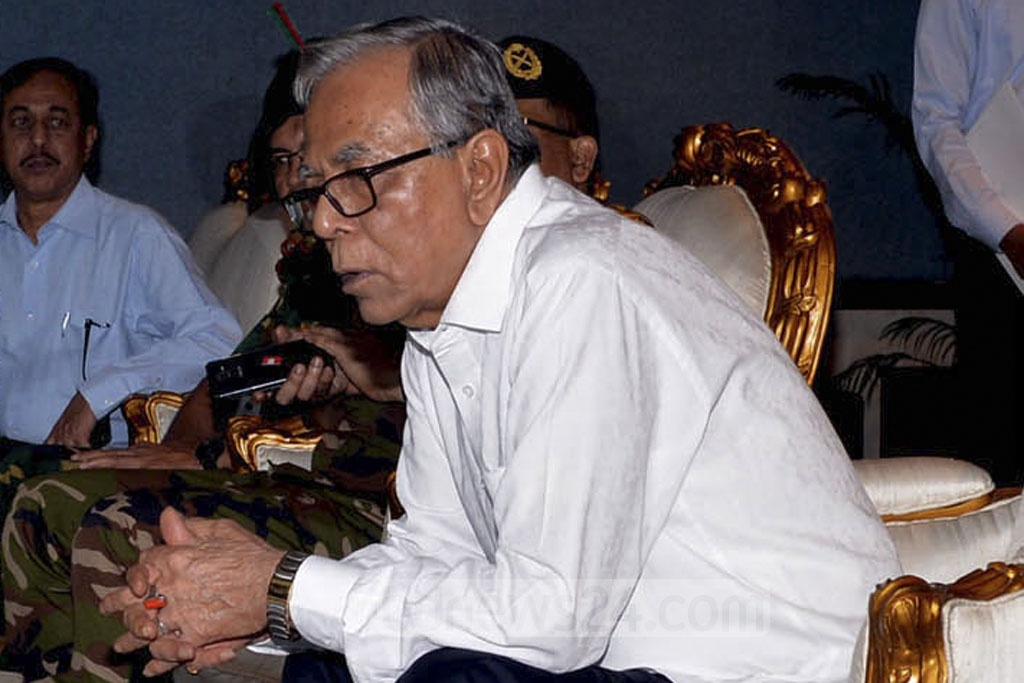 President Md Abdul Hamid listens to the budget discussion for the 2018-19 fiscal while sitting in the President's Box of the parliament on Thursday. Photo: PID