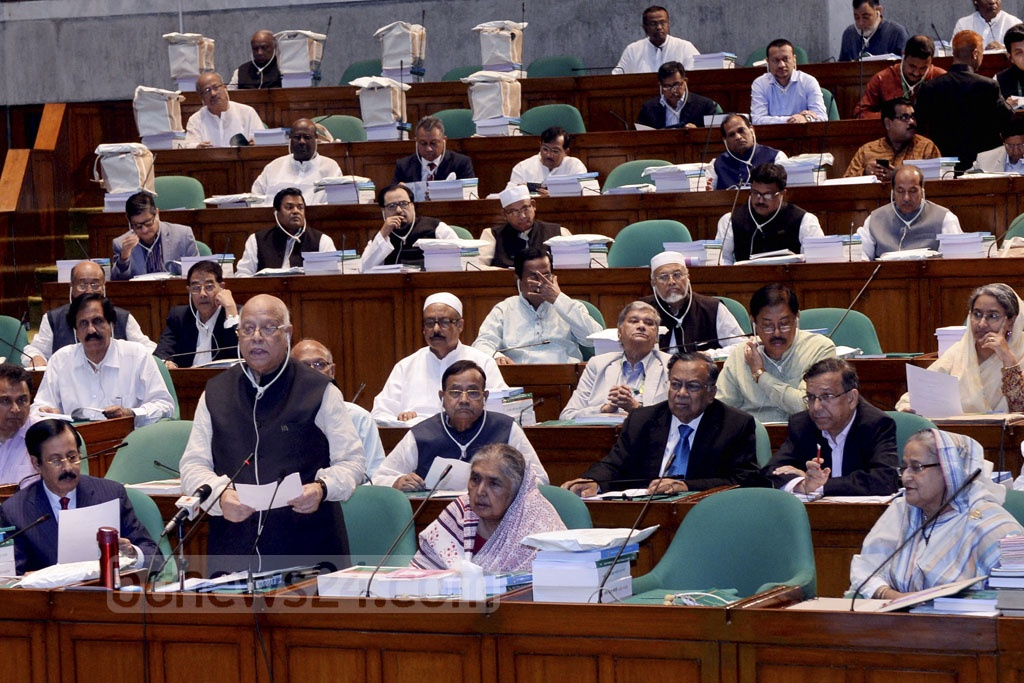 Finance Minister AMA Muhith presented the national budget for Fiscal Year 2018-19 in parliament on Thursday. Photo: PID