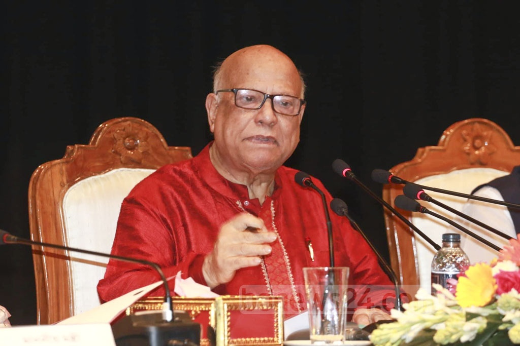 Finance Minister AMA Muhith speaks at a post-budget news briefing in Dhaka on Friday. He presented the national budget for fiscal year 2018-19 in the parliament on Thursday. Abdullah Al Momin