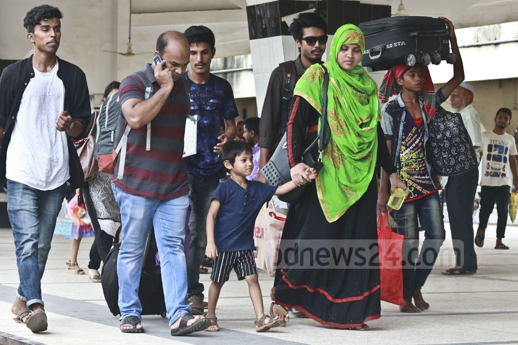 People have begun leaving Dhaka to spend Eid holidays with friends and families. Photo: Abdullah Al Momin