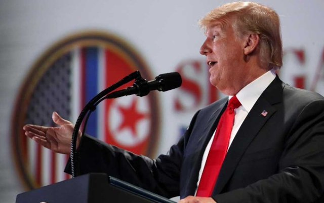 US President Donald Trump speaks during a news conference after his meeting with North Korean leader Kim Jong Un at the Capella Hotel on Sentosa island in Singapore June 12, 2018. Reuters