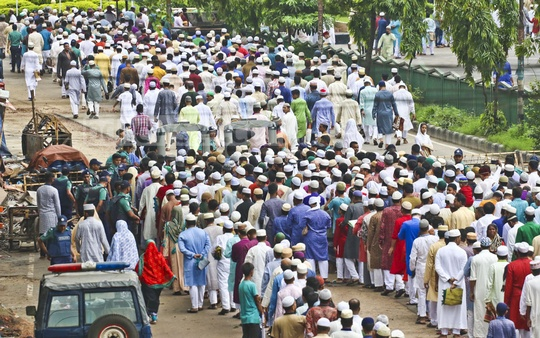 Long lines of people gathered to pray at the National Eidgah Eid prayer service on Saturday. Photo: Abdullah Al Momin