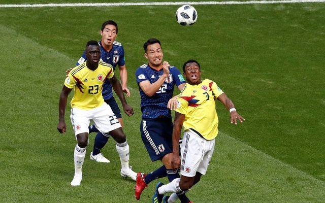 Japan's Maya Yoshida and Gen Shoji in action with Colombia's Oscar Murillo and Davinson Sanchez. Football - World Cup - Group H - Colombia vs Japan - Mordovia Arena, Saransk, Russia - June 19, 2018. Reuters