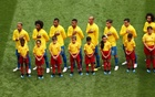 Brazil players during their national anthem before the match. Football - World Cup - Group E - Brazil vs Costa Rica - Saint Petersburg Stadium, Saint Petersburg, Russia - June 22, 2018. Reuters