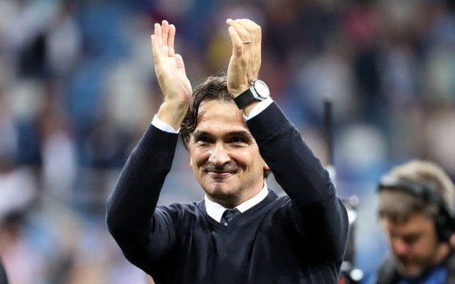 Croatia coach Zlatko Dalic celebrates after the match. Reuters