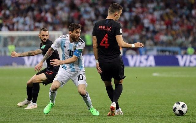 Argentina's Lionel Messi in action with Croatia's Ivan Perisic. Reuters