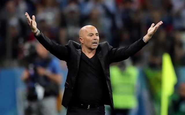 Argentina coach Jorge Sampaoli gestures during the match. Reuters