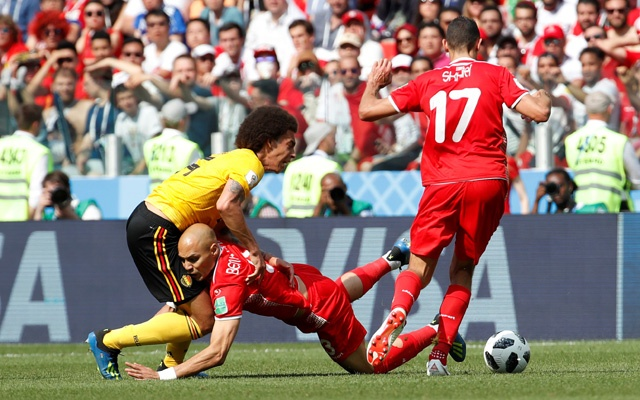 World Cup - Group G - Belgium vs Tunisia - Spartak Stadium, Moscow, Russia - Jun 23, 2018 Belgium's Axel Witsel in action with Tunisia's Yohan Benalouane and Ellyes Skhiri. Reuters