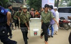 Ballot boxes are taken from the Banga Taj Auditorium, where the Election Commission has set up its control room, to various centres in Gazipur. Photo: Mostafigur Rahman