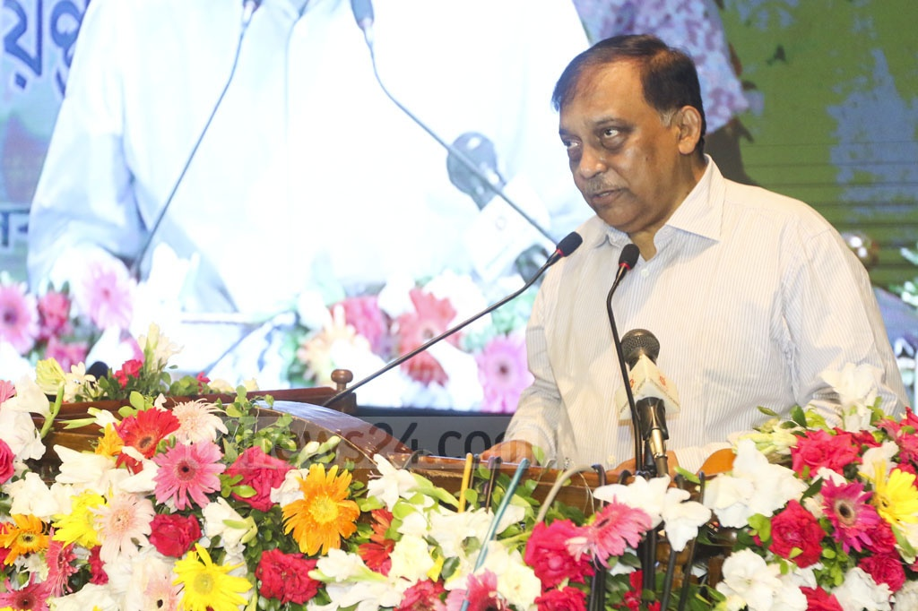 Home Minister Asaduzzaman Khan Kamal speaks at a programme marking the International Day Against Drug Abuse and Illicit Trafficking at the Osmani Memorial Auditorium in Dhaka on Tuesday.