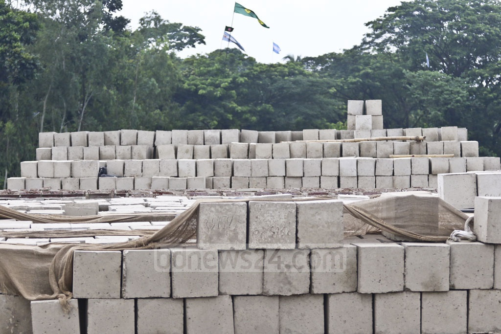 Cement blocks used for protecting roads and river banks from erosion. Photo: Abdullah Al Momin