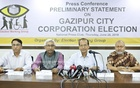 The Election Working Group briefs the media on their observation on the just-concluded Gazipur City Corporation polls at a press conference at the National Press Club on Thursday. Photo: Mahmud Zaman Ovi