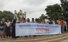 A group of students staging a human-chain demonstration at the alter of Raju Sculpture on the Dhaka University campus on Thursday against what they described as 'instability on the campus in the name of movement'.