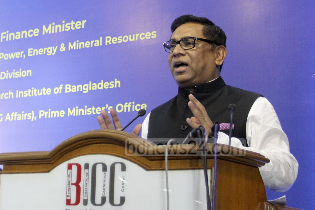 State Minister for Power, Energy and Mineral Resources Nasrul Hamid speaks at the National Conference on SDGs Implementation Review at the Bangabandhu International Conference Centre in Dhaka on Friday. Photo: Asif Mahmud Ove