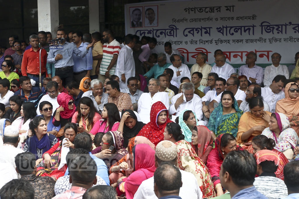 BNP activists hold a token hunger strike at Gulistan's Mahanagar Natyamancha on Monday to protest a stay order on party chief Khaleda Zia's bail and to demand her release. Photo: Abdullah Al Momin