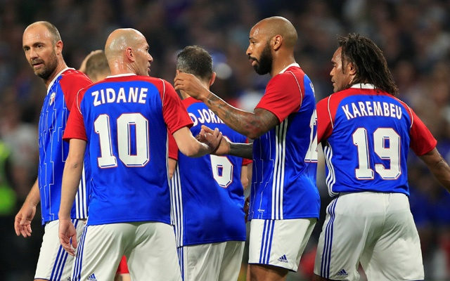 France 98 v FIFA 98 Selection- U Arena Stadium Nanterre France- Jun 12 2018 France 98's Thierry Henry celebrates scoring their first goal with team mates. Reuters