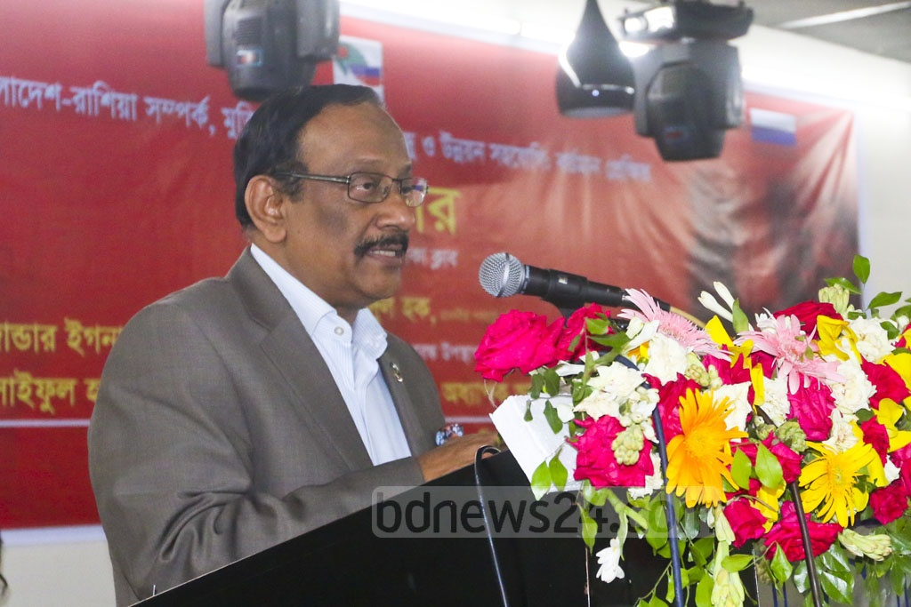 Foreign Secretary Md Shahidul Haque speaks at a seminar on Bangladesh-Russia relations at the Dhaka Club on Tuesday. Photo: Abdullah Al Momin
