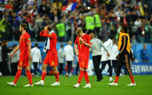 Belgium's Kevin De Bruyne looks dejected after the match. Reuters