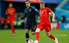 Belgium's Kevin De Bruyne in action with France's Antoine Griezmann. Reuters
