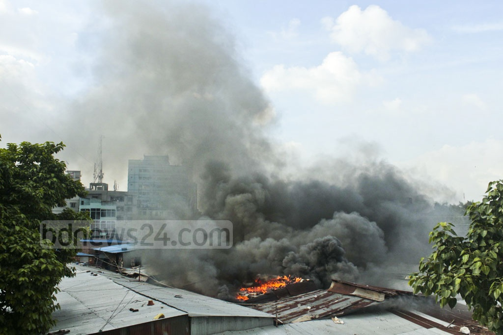 A fire broke out at the Hasina Market in Dhaka's Karwan Bazar on Wednesday.