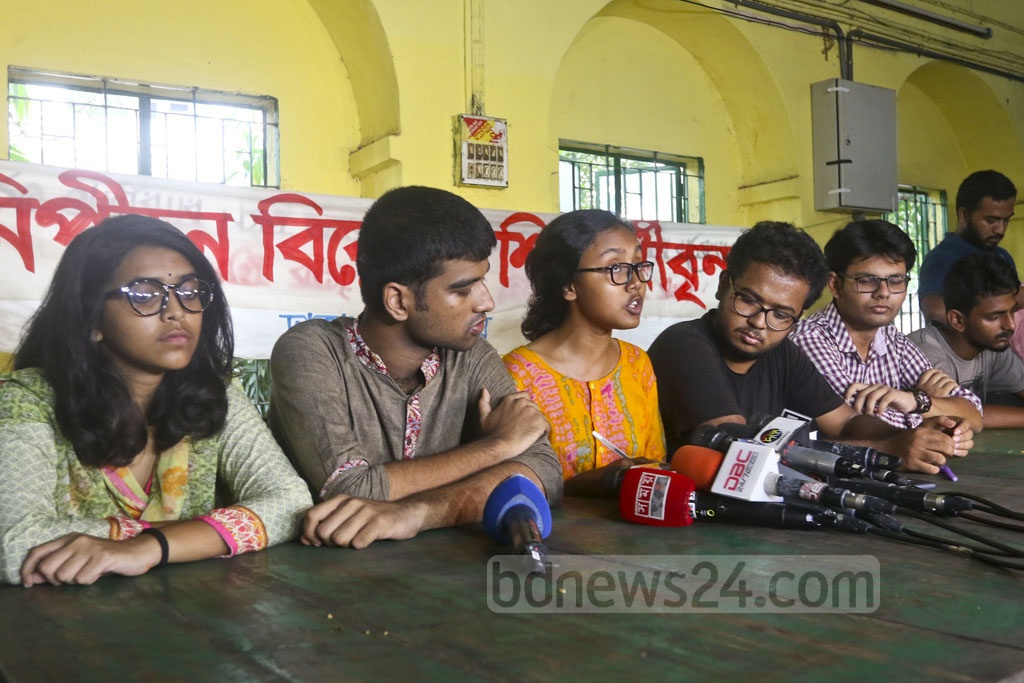 A group of students taking a stand against harassment organised a press briefing at the Dhaka University's Madhur Canteen on Wednesday to protest against Bangladesh Chhatra League's attacks on quota protesters. Photo: Abdullah Al Momin
