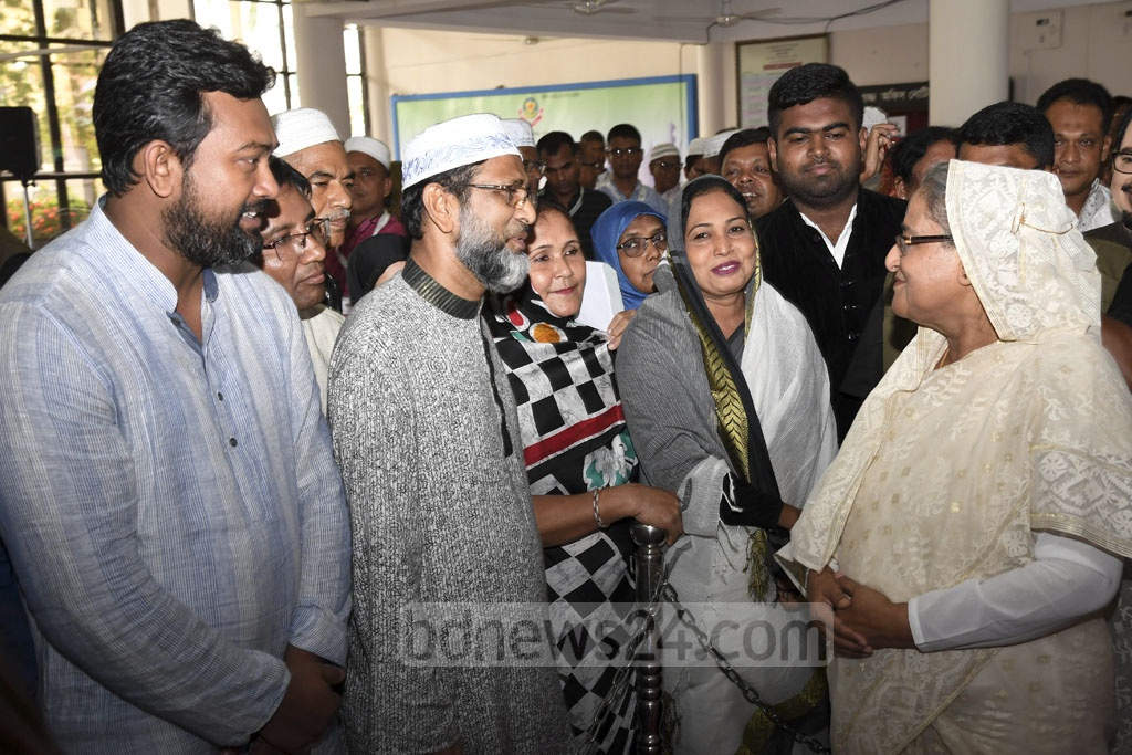 Prime Minister Sheikh Hasina inaugurated the Hajj travel activities of 2018 at the Ashkona Hajj Camp in Dhaka on Wednesday. Photo: PID
