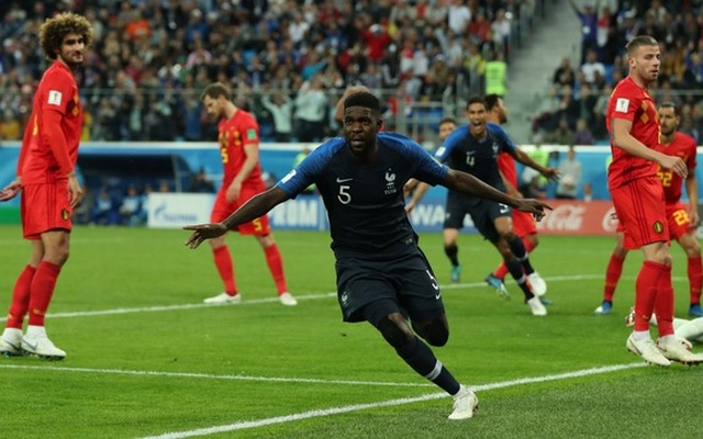 France's Samuel Umtiti celebrates scoring their first goal. Reuters