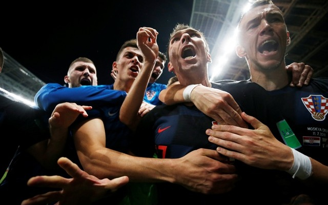 Croatia's Mario Mandzukic celebrates scoring their second goal with teammates. Reuters