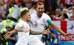 England's Kieran Trippier celebrates scoring their first goal with Harry Kane. Reuters