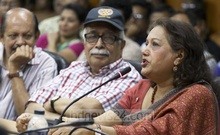 Actress Sarah Begum Kabori speaks at a meeting to commemorate late playwright, actor and filmmaker Abdullah Al Mamun on his 76th birth anniversary at the Shilpakala Academy in Dhaka on Friday. Photo: Abdullah Al Momin