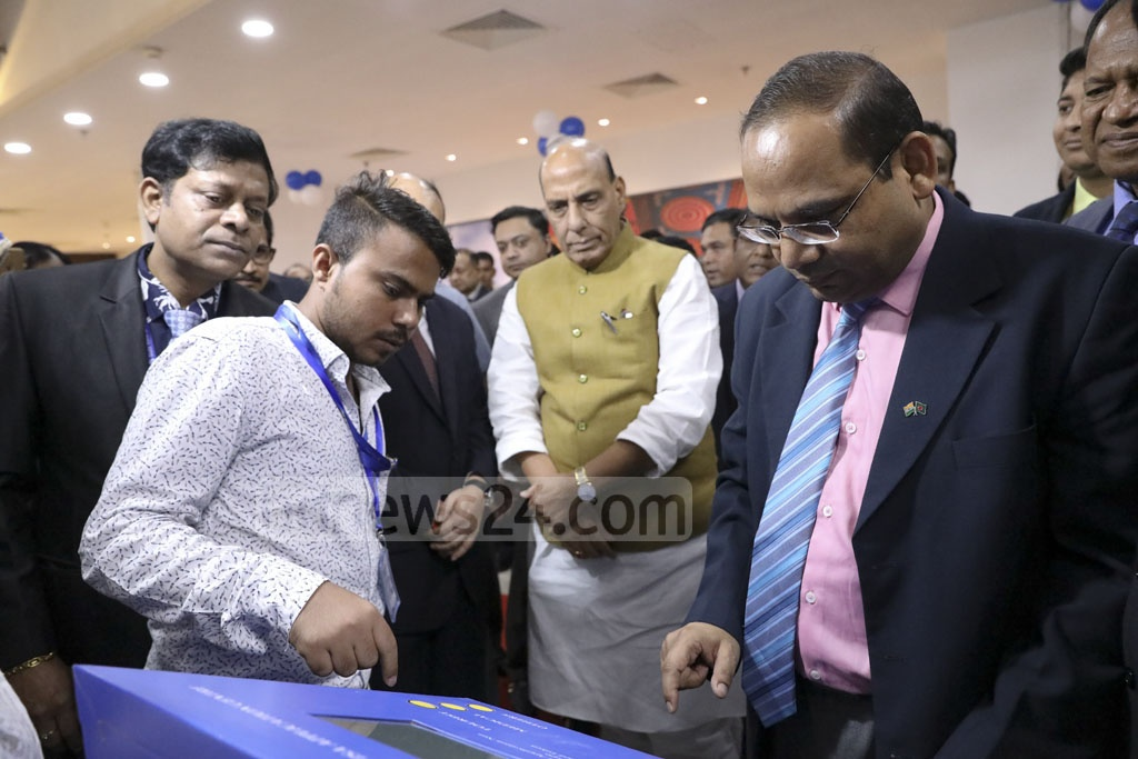 Indian Home Minister Rajnath Singh inspects the new Indian Visa Application Centre in Dhaka. Photo: Mahmud Zaman Ovi