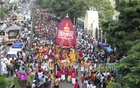 Hindu devotees celebrate Ratha Yatra, a chariot procession, in Dhaka on Saturday. Photo: Asif Mahmud Ove