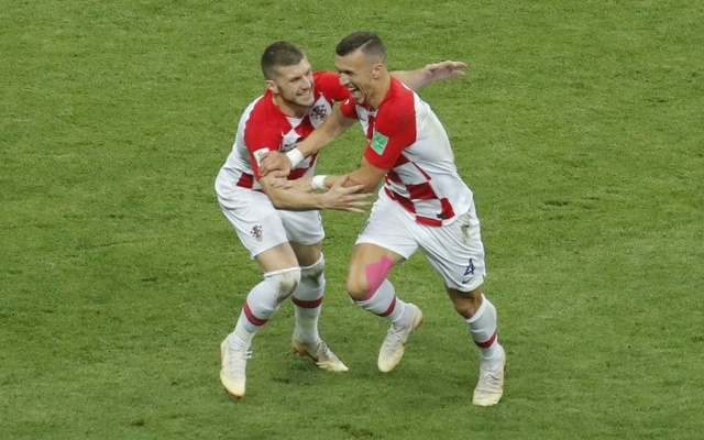 Croatia's Ivan Perisic celebrates with Ante Rebic after scoring their first goal. Reuters
