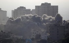 Smoke rises following an Israeli strike on a building in Gaza City Jul 14, 2018. Reuters