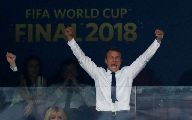 President of France Emmanuel Macron celebrates after France win the World Cup. Reuters