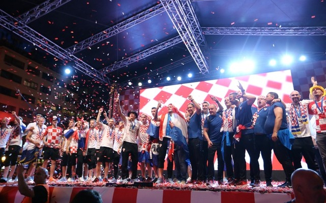 The Croatia team return from the World Cup in Russia - Zagreb,Croatia - July 16, 2018 Croatia players on stage during the parade. Reuters