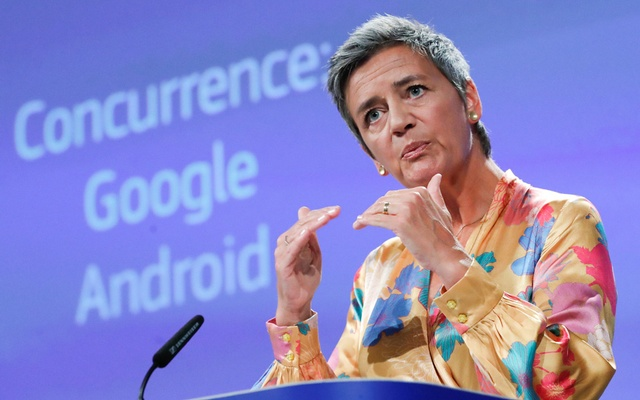 Google is fined a record $5 billion in European Union antitrust case
