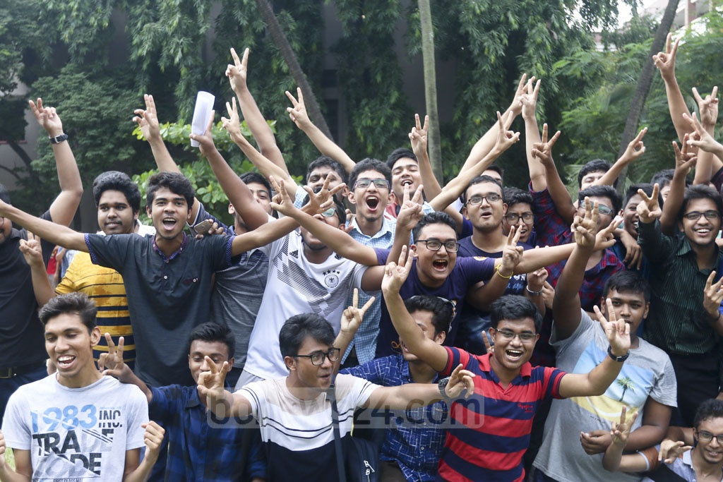 Students celebrate publication of HSC exam result at Notre Dame College in Dhaka on Thursday. Photo: Abdullah Al Momin