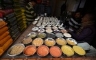 FILE PHOTO: Pulses are kept on display for sale inside a shop at a wholesale market in Guwahati, India February 1, 2018. Reuters