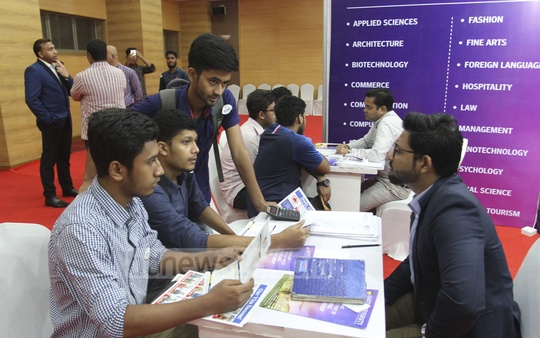 Students and guardians collect information from a stall of the two-day Study in India Expo at the Bangabandhu International Conference Centre in Dhaka after the opening on Friday. Photo: Asif Mahmud Ove